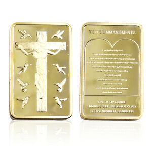 Jesus Gold Plated Metal Coin Challenge Coin Art Craft In Plastic Card for Gift