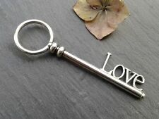 Antique Silver LOVE Key Charms 2pcs Design 11 Steampunk Vintage Pendants Kitsch