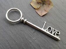 Antique Silver LOVE Key Charms 2pcs Design 11 Steampunk Vintage Pendants Kitsch