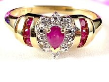 DAZZLING 10K SOLID YELLOW GOLD RUBY PEAR .05 CTW DIAMOND HALO RING SIZE 7.75
