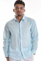 Mens Bohio 100% Pure Linen Mint Casual Long Sleeve Shirt (S ~ 4XL) - MLS744