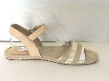 Coach Reena  Khaki/White  Flat Ankle Strap Espadrille Sandals Size 8.5 M