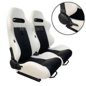 2 X TANAKA WHITE & BLACK RACING SEATS RECLINABLE + SLIDERS FIT FOR VOLKSWAGEN **