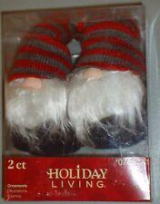 "Gnomes Elves 6"" plush beanbag Christmas Ornaments Set of 2 w/Red Gray Hats Nip"