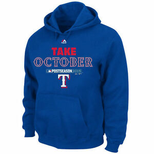 NEW Mens Majestic MLB Texas Rangers Take October Postseason 2015 Blue Hoodie