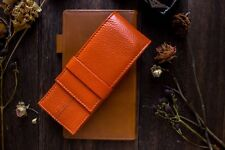 Wancher Japan Handmade Orange Genuine Leather Fountain Pen Case 3 Pens