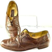 Cole Haan Tensile Air Oxford Men 10.5 M Brown Leather Wingtip Lace Up Shoe Italy