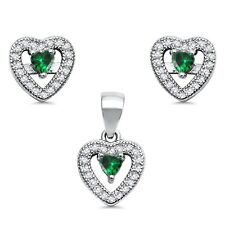 Heart Emerald Green Pave CZ Stud Earring Necklace Silver Set