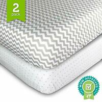 Ziggy Baby Crib Sheet Fitted Jersey Cotton (Grey Polka Dot, Chevron (Crib