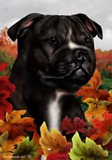 Fall Garden Flag - Black and White Staffordshire Bull Terrier 132311