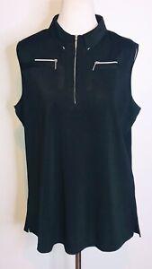 Jamie Sadock Sleeveless 1/4 Zip Collared Golf Shirt Top Black XLarge