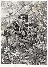 Le Quattro Stagioni. Con Bambini.Capolavoro.4 Stampe Antiche + Passepartout.1891