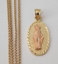 14k Yellow Rose Gold Virgin Mary Diamond Cut Charm Pendant