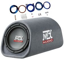 "AMPLIFIED MTX 8"" RT8PT Bass Tube Sub Enclosure w Remote Bass Control AND Amp Kit"
