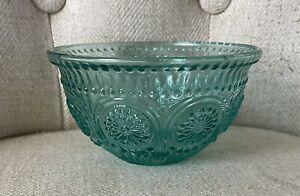 The Pioneer Woman Adeline Teal  Embossed Glass Fruit Bowl