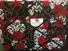 """Padded Memo / Notice Board -  Gothic Skull fabric 18""""x14"""" with Black ribbon"""