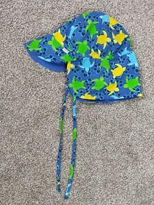 iPlay Blue Sun Hat Turtles UPF 50+ 6-18mo Reversible Baby Infant