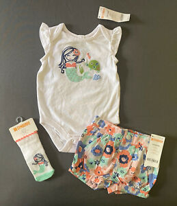 Baby Girl 3-6 Month Gymboree Mermaid Bodysuit Floral Bubble Shorts & Socks
