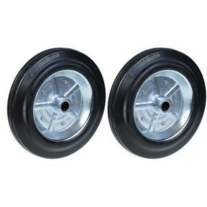 """250mm 10"""" wheels rubber tyre with pressed steel centre 20mm 420kg, set of 2"""