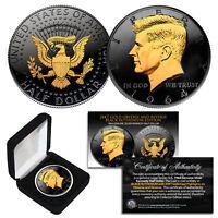 Black RUTHENIUM 1964 Silver JFK Kennedy Half Dollar Coin with 24K Golden Enigma