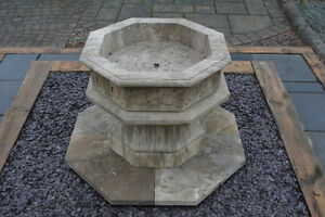 Natural Stone Gothic Font and Base, Limestone, hand carved