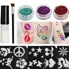 Kit Glitter Tatouage Temporaire Poudre Paillette Pochoirs Corps Peinture Tattoo
