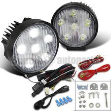 "2X 4.5"" 6 LED Round Bulb 4X4 4WD Off Road Lights Flood Beam Fog Lamps+Switch"