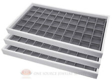 3 Gray 50 Compartment Jewelry Display Inserts With White Plastic Stackable Trays
