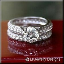3.75 CT MOISSANITE ROUND FOREVER ONE GHI ETERNITY PAVE WEDDING SET RING