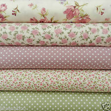 Bundle 5 fat quarters dusky pink & sage green florals & polka dots  100% cotton
