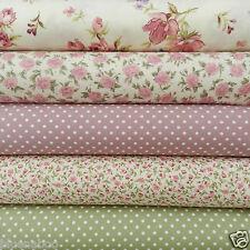 Bundle 5 fat quarters dusky pink & sage green florals & polka dots  100% cotton