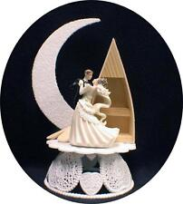 Romantic Moonlight  Lake wood BOAT Wedding Cake Topper Top beach sea sail ship S
