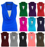 NEW LADIES COWL NECK GATHERED TOP WOMENS SLEEVELESS LONG VEST TOP SIZE 8-26
