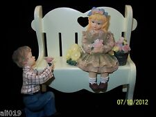 "Bench White 7"" Girl with Boy on Bended Knee.  3 Pc. Set Figurine with Flowers"