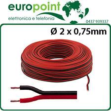 Piattina cavo rosso nero sezione 2 x 0,75 mmq per audio bobina matassa 100 metri