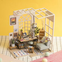 Robotime DIY Dollhouse with Furniture LED Miniature Modern Office Room Kits Toy
