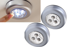 2 SILVER STICK & CLICK LED PUSH ON/OFF SELF ADHESIVE LIGHTS BATTERY OPERATED
