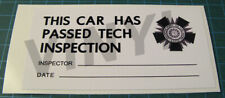 SHELBY AMERICAN TECH INSPECTION DECAL STICKER - SCCA - VINTAGE RACING BUD MOORE