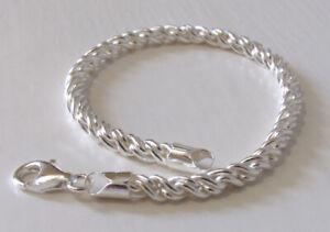 4mm Italian Sterling Silver Torcion Bracelet - 7.5 inch