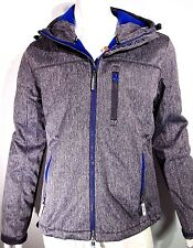 Superdry Men Hooded Windtrekker Soft Shell Grey R Blue Winter Jacket size medium