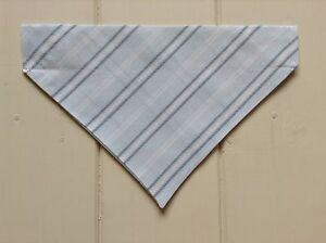 Handmade Pale Blue Stripe Over Collar Dog Bandana - x-small