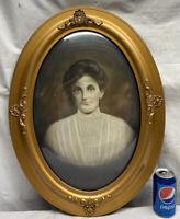Vtg Antique Victorian Oval Frame Convex Bubble Glass Shell Chalk Design Portrait