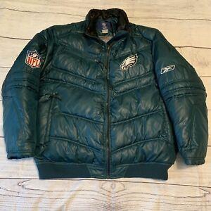 Reebok On Field Mens Winter Puffer Size Large Jacket Philadelphia Eagles NFL