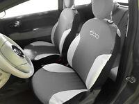 Fodere Foderine Coprisedili auto grigie bianche su misura FIAT 500 07> ANT+POST