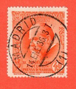 ESPAÑA 1936 EDIFIL 703 EMITIDO 14 FEB 1936 = OBLITERADO 14 ENE 1936 ????