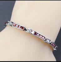 """Red Garnet  White Topaz 925 Sterling Silver Tennis Gemstone Bracelet 7"""" Long"""