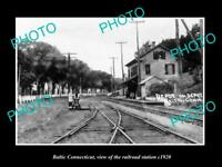 OLD LARGE HISTORIC PHOTO OF BALTIC CONNECTICUT THE RAILROAD DEPOT c1920