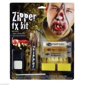 ZIPPER KIT FACE FX HORROR KIT ZOMBIE SCARY ROTTEN TEETH HALLOWEEN FANCY DRESS