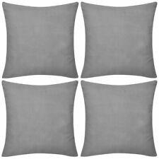 vidaXL 4x Cushion Covers Cotton 50x50cm Grey Sofa Protect Throw Pillow Case