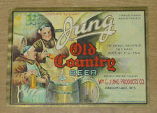 1 beer label, Random Lake, Wisconsin, Jung's Old Country Lager 3/4 qt U-permit 2